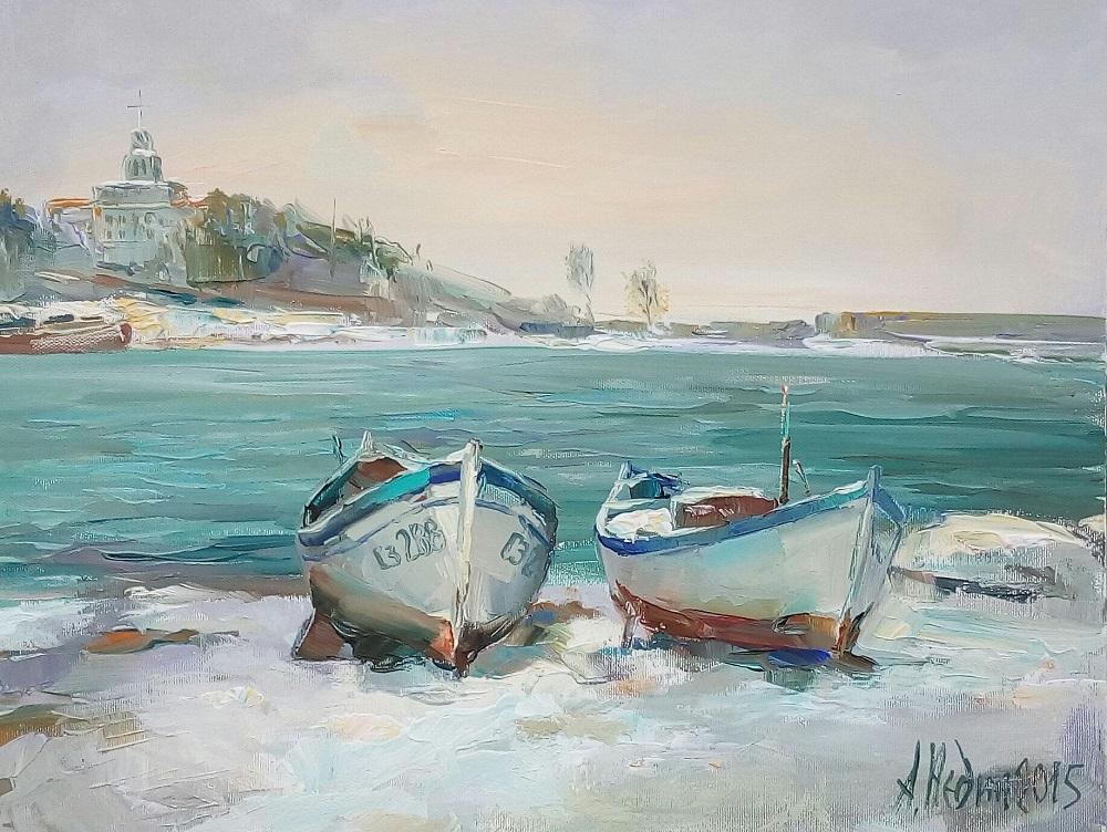 Лодки на Брега на Морето- Зимен Морски Пейзаж Созопол Ангелина Недин