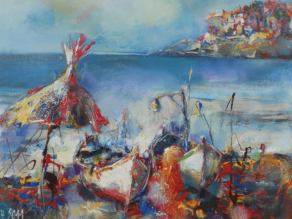 Море и Лодки на Брега Живопис Морски Пейзаж Маслени Бои Ангелина Недин