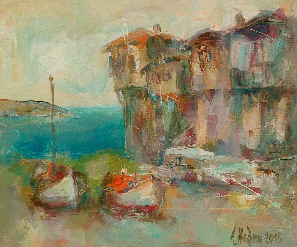 Морски Бряг Созопол,Лодки ,Картина с маслени бои,живопис,Ангелина Недин