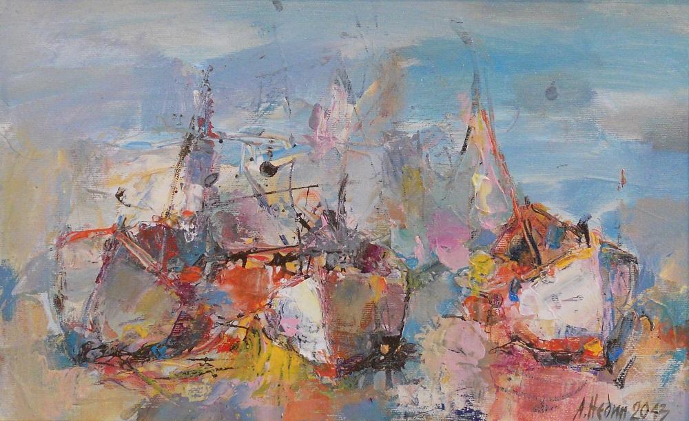 Три Лодки в Морето Живопис Маслени Бои Ангелина Недин