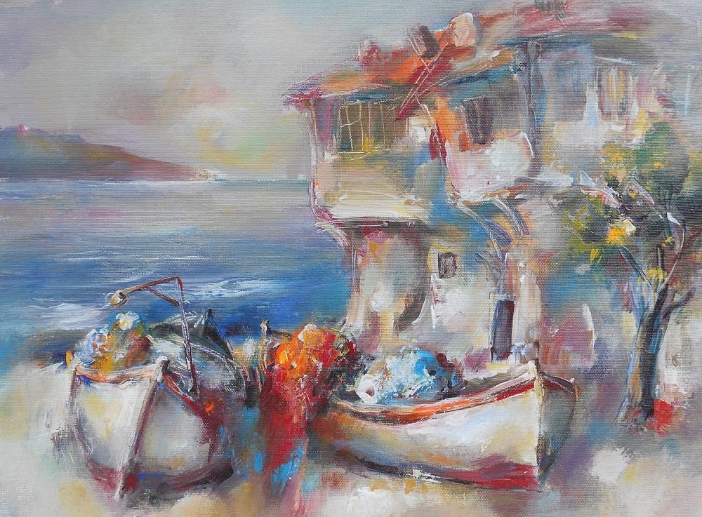 Морски Пейзаж с Лодки Ангелина Недин Живопис