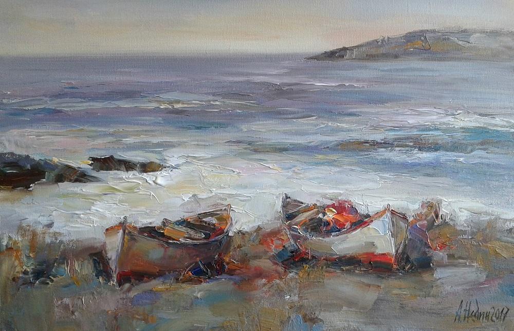 Картина Море с Лодки Живопис Ангелина Недин