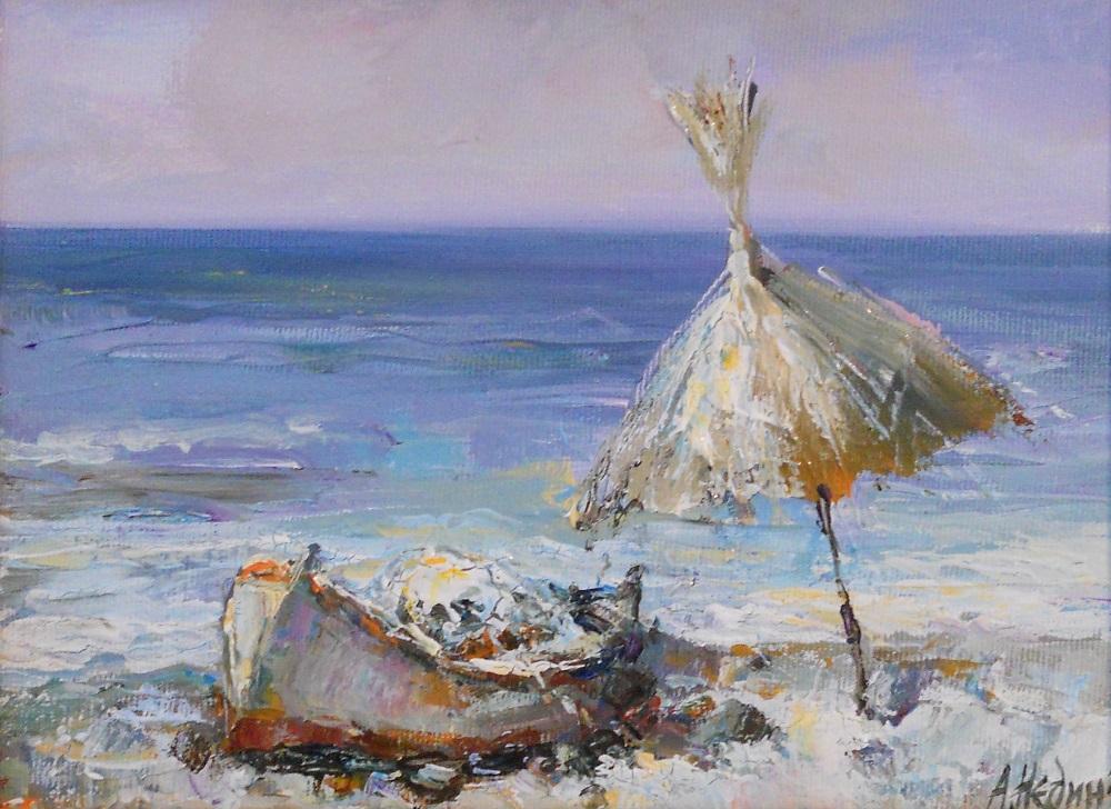 Лодка на Брега на Морето Живопис Картина с МАслени Бои Ангелина Недин