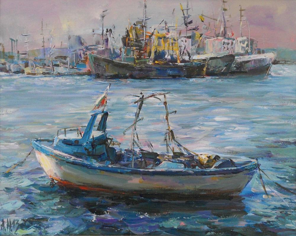 Лодки и Кораби в Морето Живопис Картина с маслени Бои Ангелина Недин
