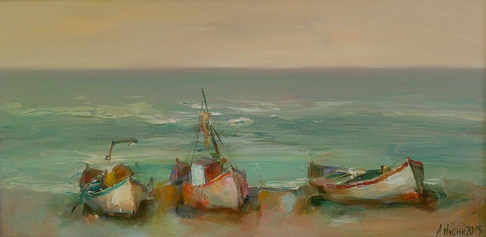 Три Лодки на Брега на Морето Живопис,Картина с маслени Бои Ангелина Недин