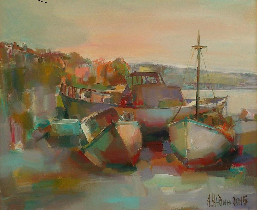 Лодки на Пристанището Живопис Маслени бои Ангелина Недин