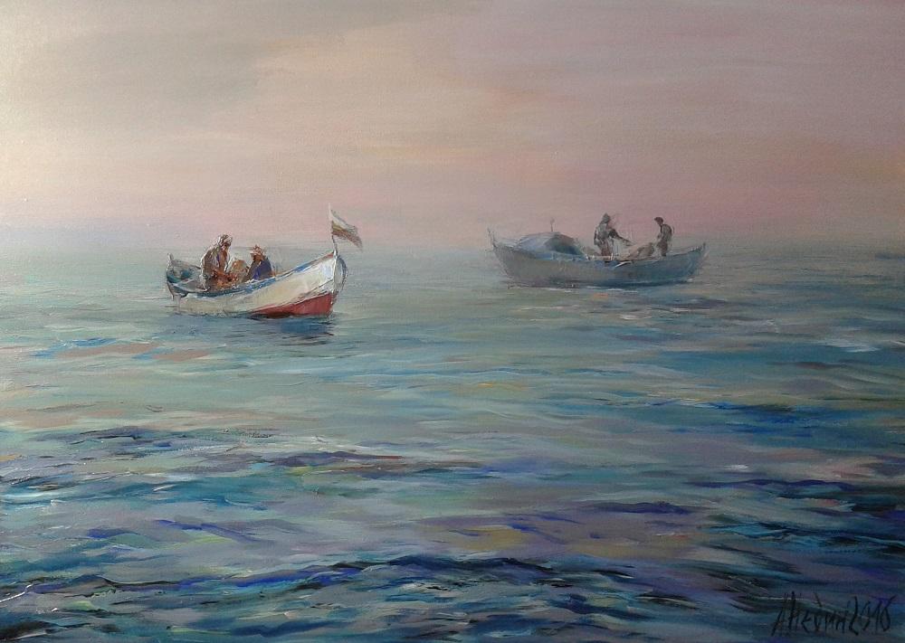 Риболовни Лодки в Морето,Морски Пейзаж ,Живопис,Картина с Маслени Бои Ангелина Недин