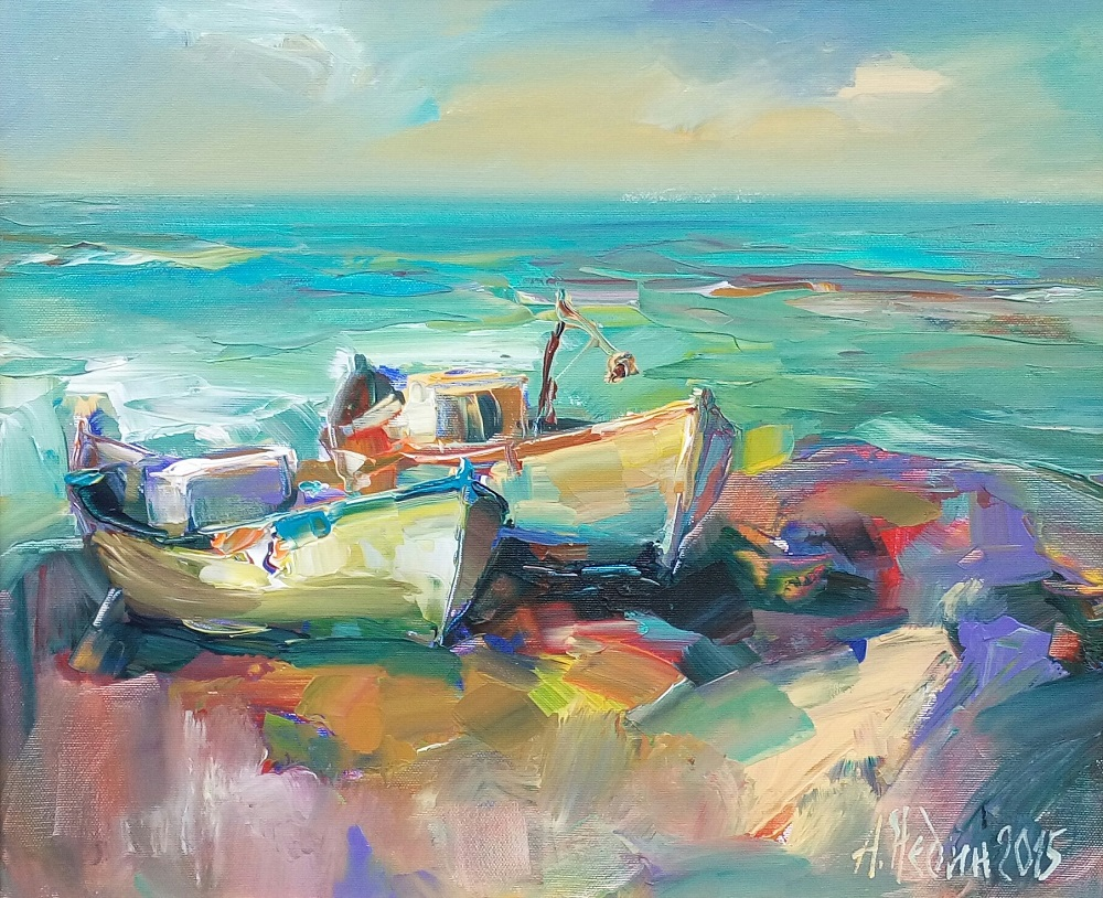 Две Лодки в Морето Ангелина Недин Живопис