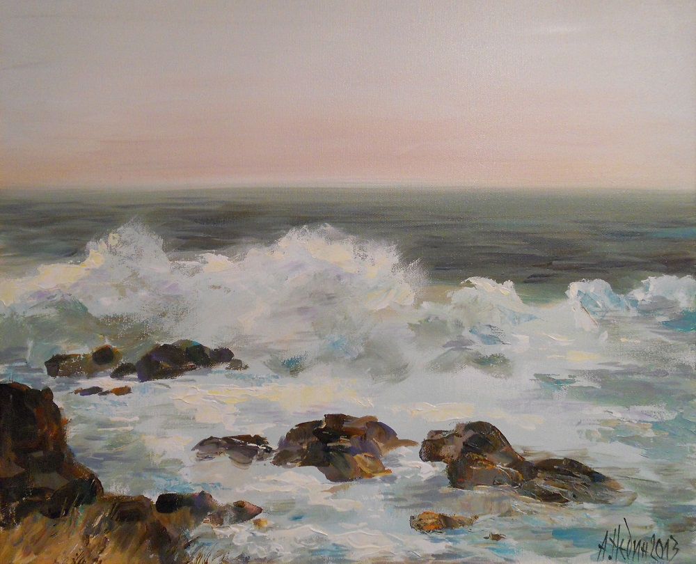Бурно Море Ангелина Недин Морски пейзаж ,картина с маслени бои,живопис