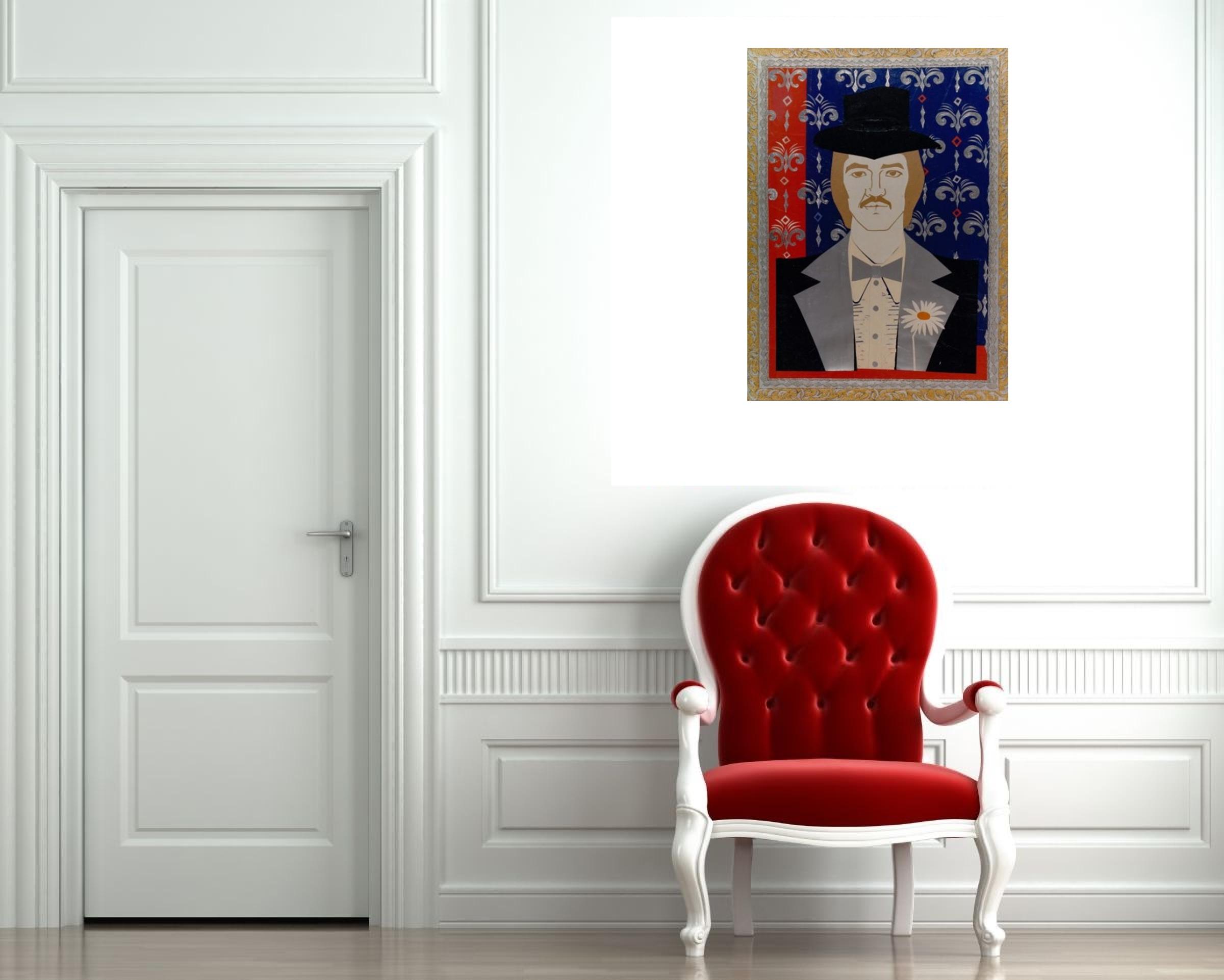 """""""Портрет на Мъж с Маргаритка"""" Живопис Румянка Божкова"""