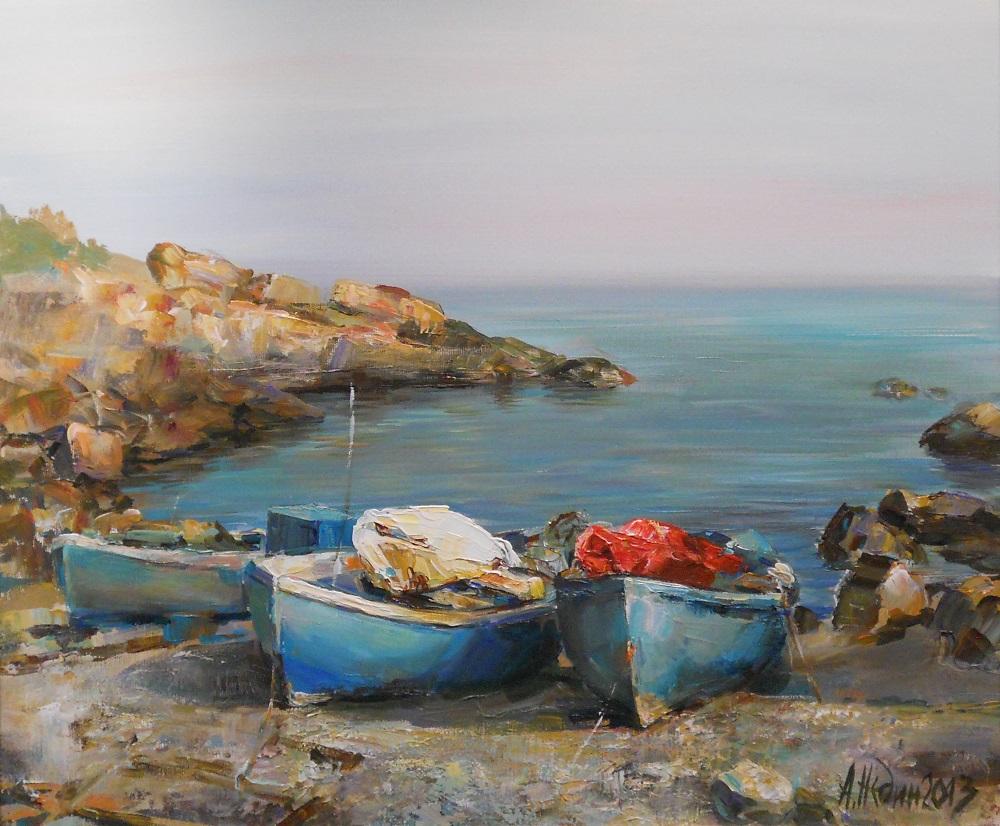 Лодки на Брега ,Ангелина Недин ,Морски пейзаж ,картина с маслени бои,живопис