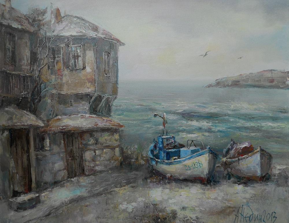 Зимен Морски Пейзаж ,Ангелина Недин,Живопис,Картина с Маслени Бои