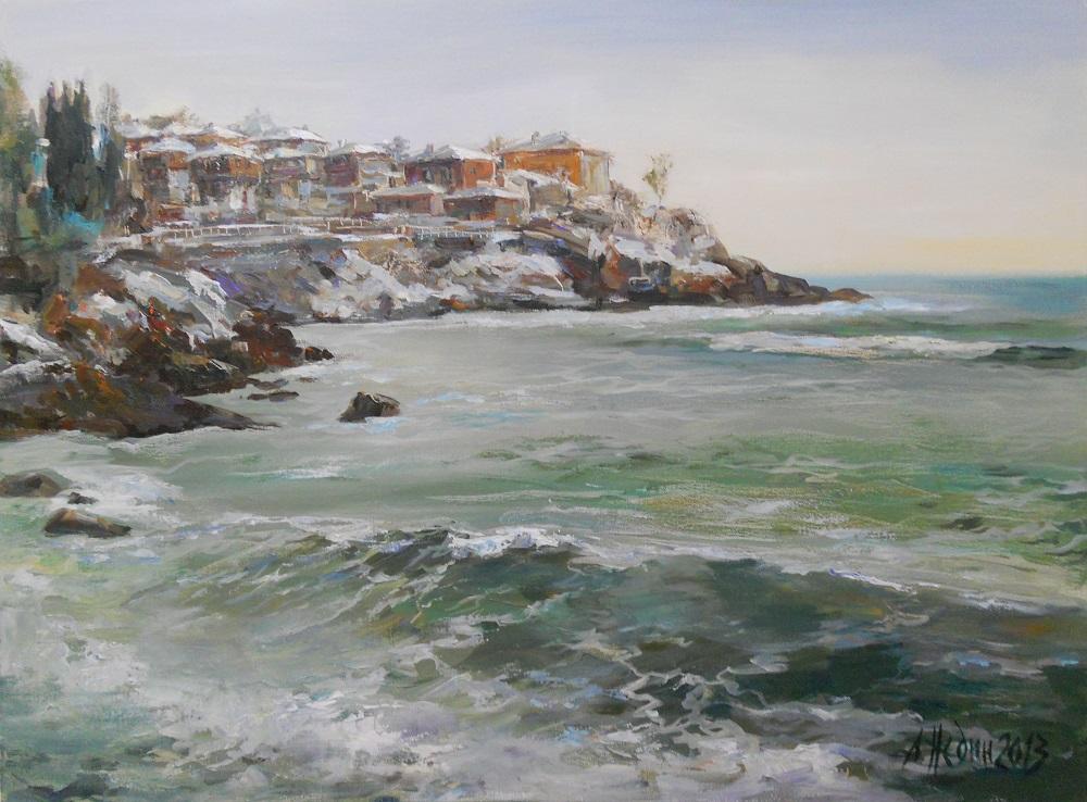 Созопол Зимен Морски пейзаж,Панорама ,Ангелина Недин живопис,картина с маслени бои