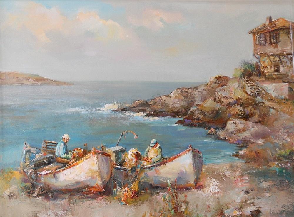 Созополски Рибари ,Морски Пейзаж,Ангелина Недин ,Живопис,Картина с Маслени бои