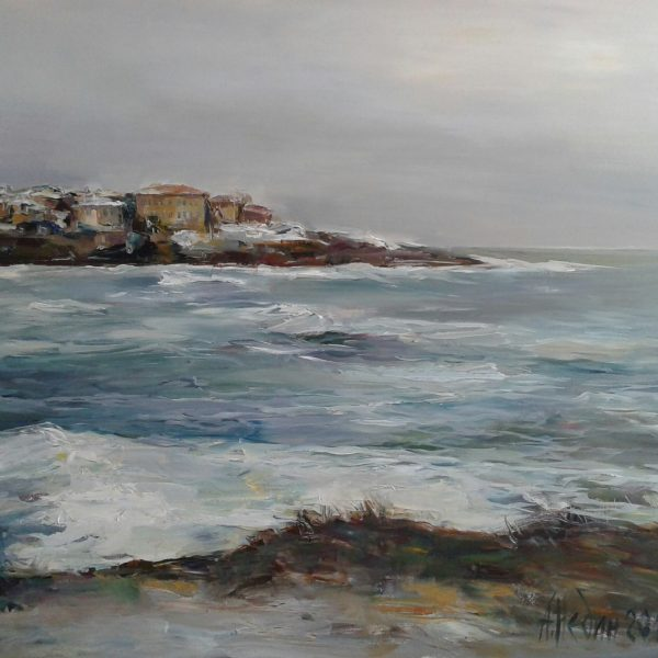 Angelina Nedin Winter in Sozopol Sea Landscape,Oil Painting ,Maritime Painting