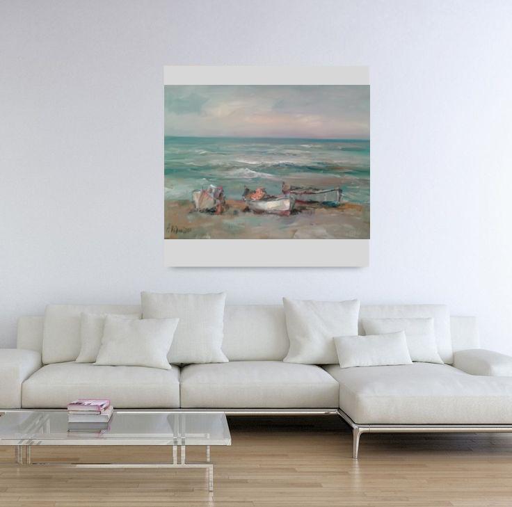 Angelina Nedin 2017 Oil Painting Autumn near the sea