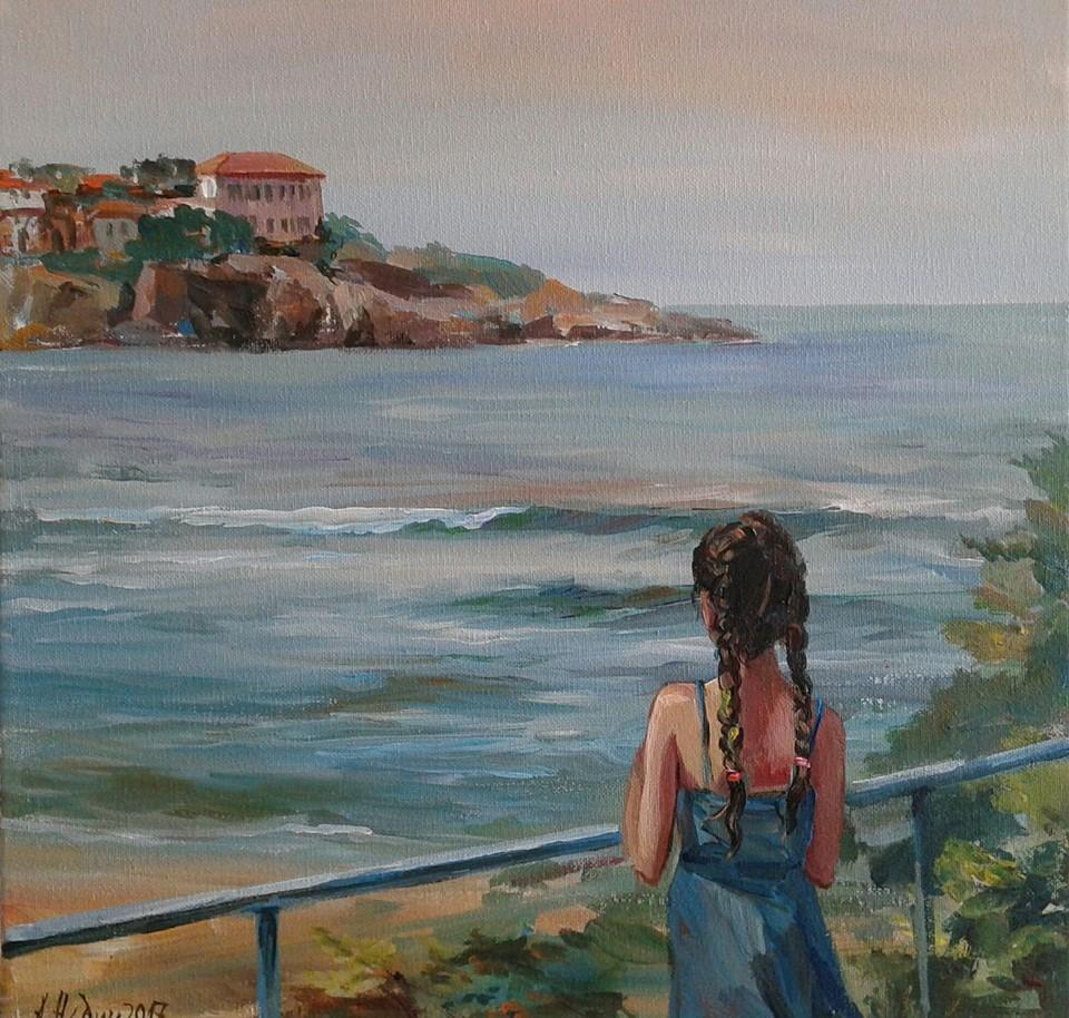 Angelina Nedin 2017 canvas,oil painting ,Sea landscape
