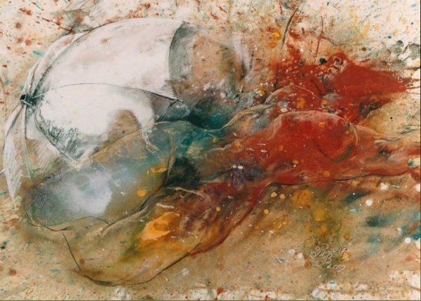 """"""" The White Umbrella"""" nude painting Rumyanka Bozhkova"""