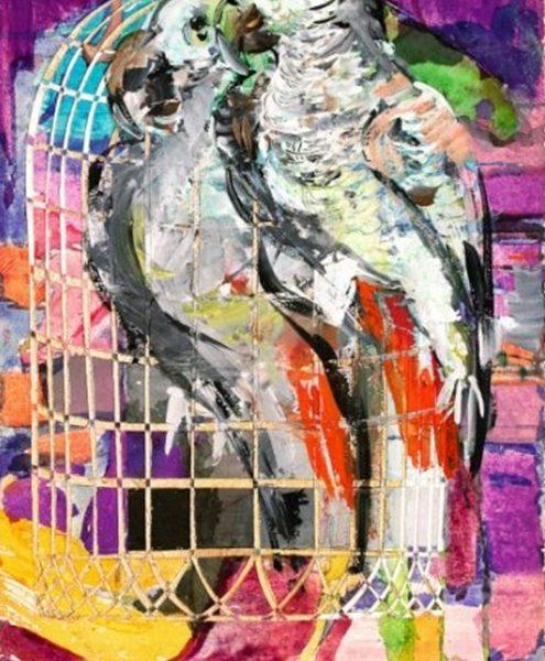"""Inside and Outside of the Cage"" Rumyanka Bozhkova Painting"