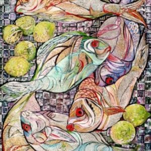"""Fish and Lemons"" Naturmort Painting Rumyanka Bozhkova"