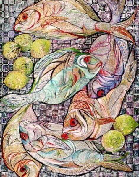 """""""Fish and Lemons"""" Naturmort Painting Rumyanka Bozhkova"""