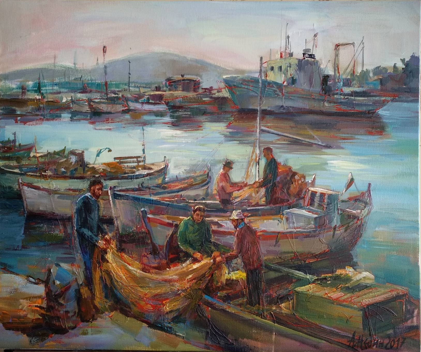 """ Fishing Boats"" Seascape Oil Painting Angelina Nedin"