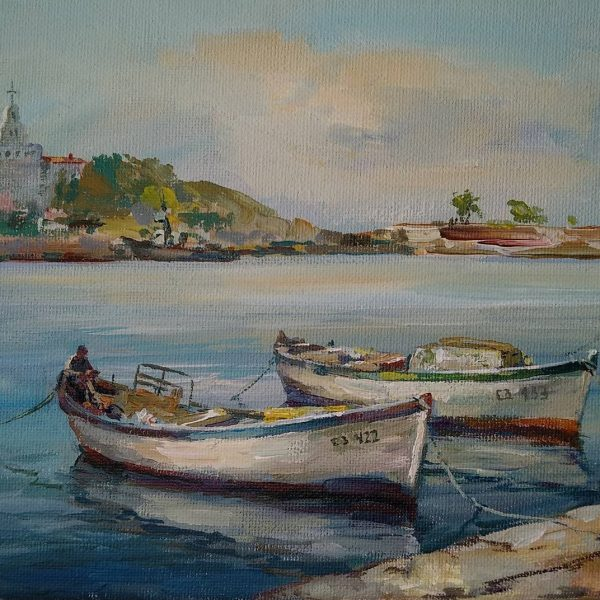 """Port and Boats"" Angelina Nedin Painting"