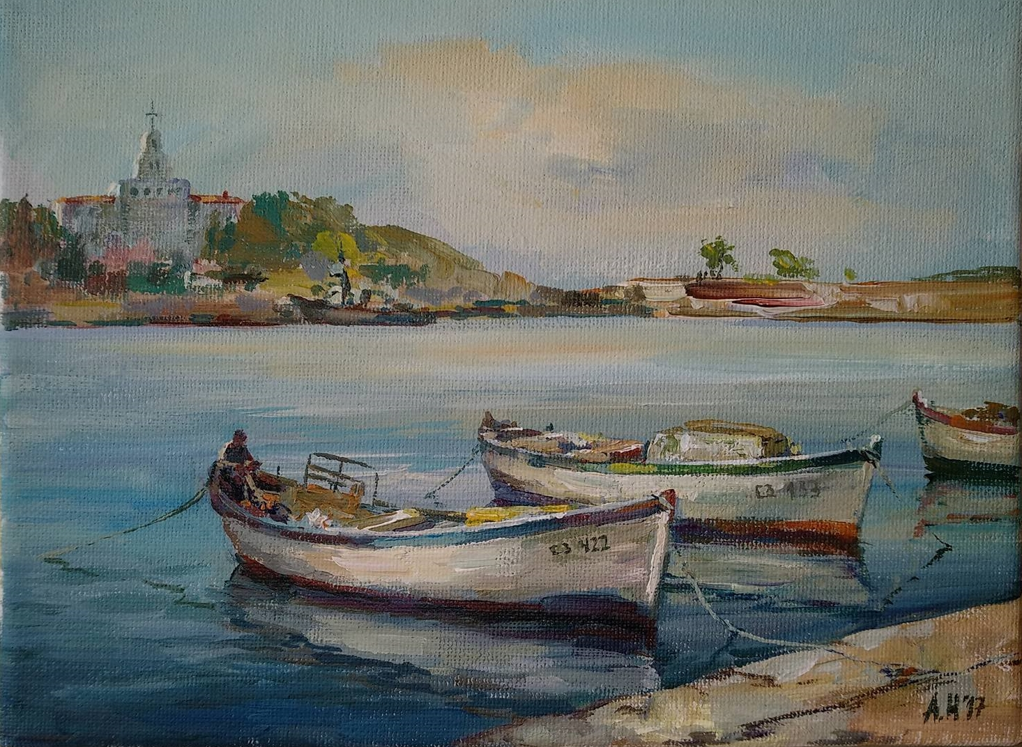 """Port and Boats"" Angelina Nedin Painting"
