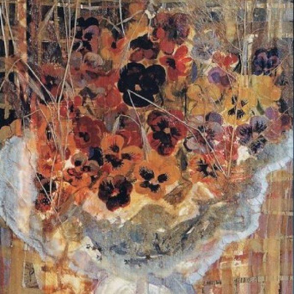"""Bouquet of Violets"" Light Panel Painting Rumyanka Bozhkova"