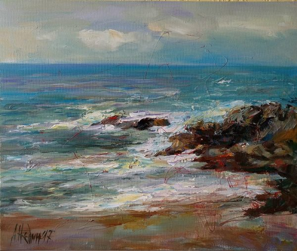 """Stormy Sea"" Seascape Painting Angelina Nedin"