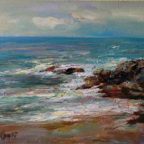 """Stormy Sea"" Seascape Painting Angelina Nedin"