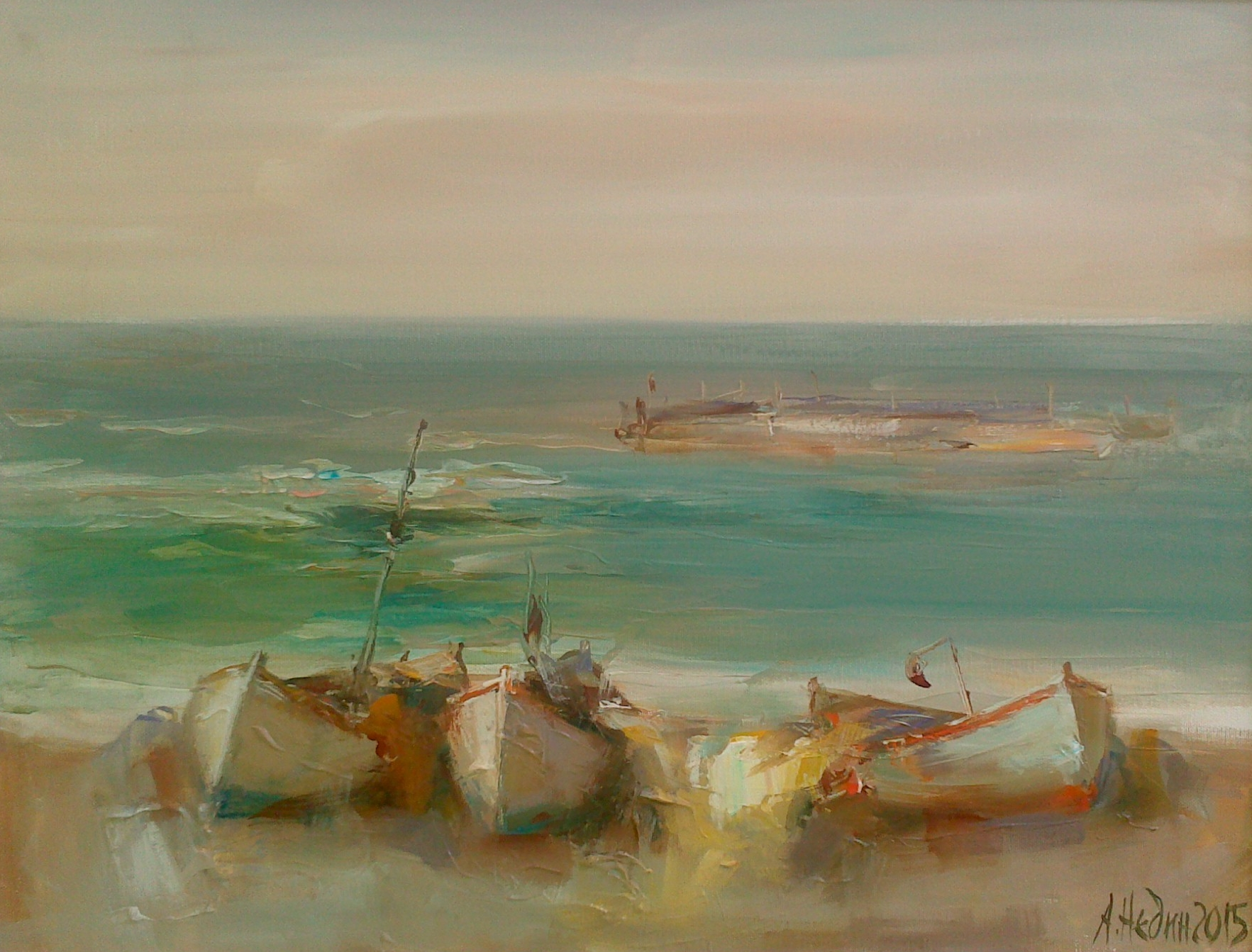 Boats on The Coast Painting Angelina Nedin