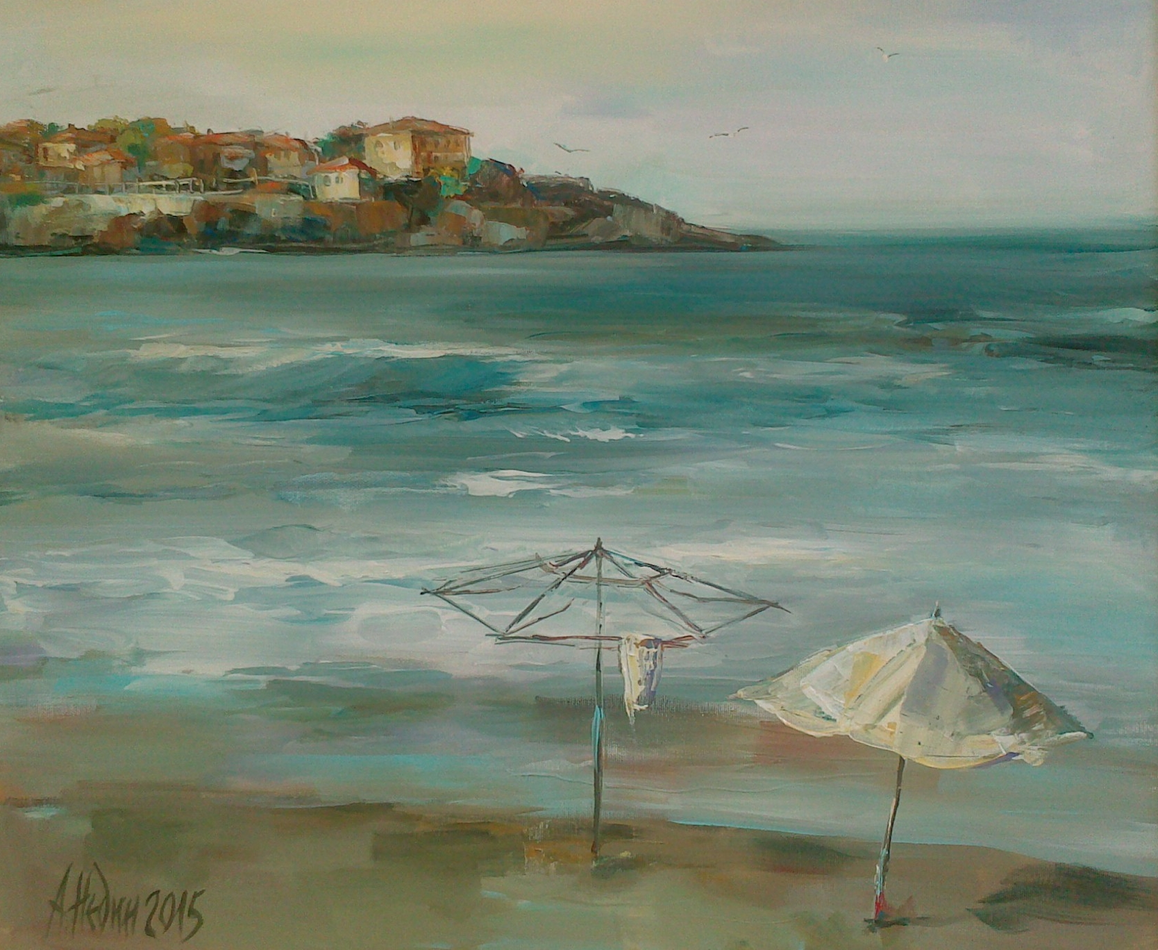 Seascape with Umbrella Painting Angelina Nedin