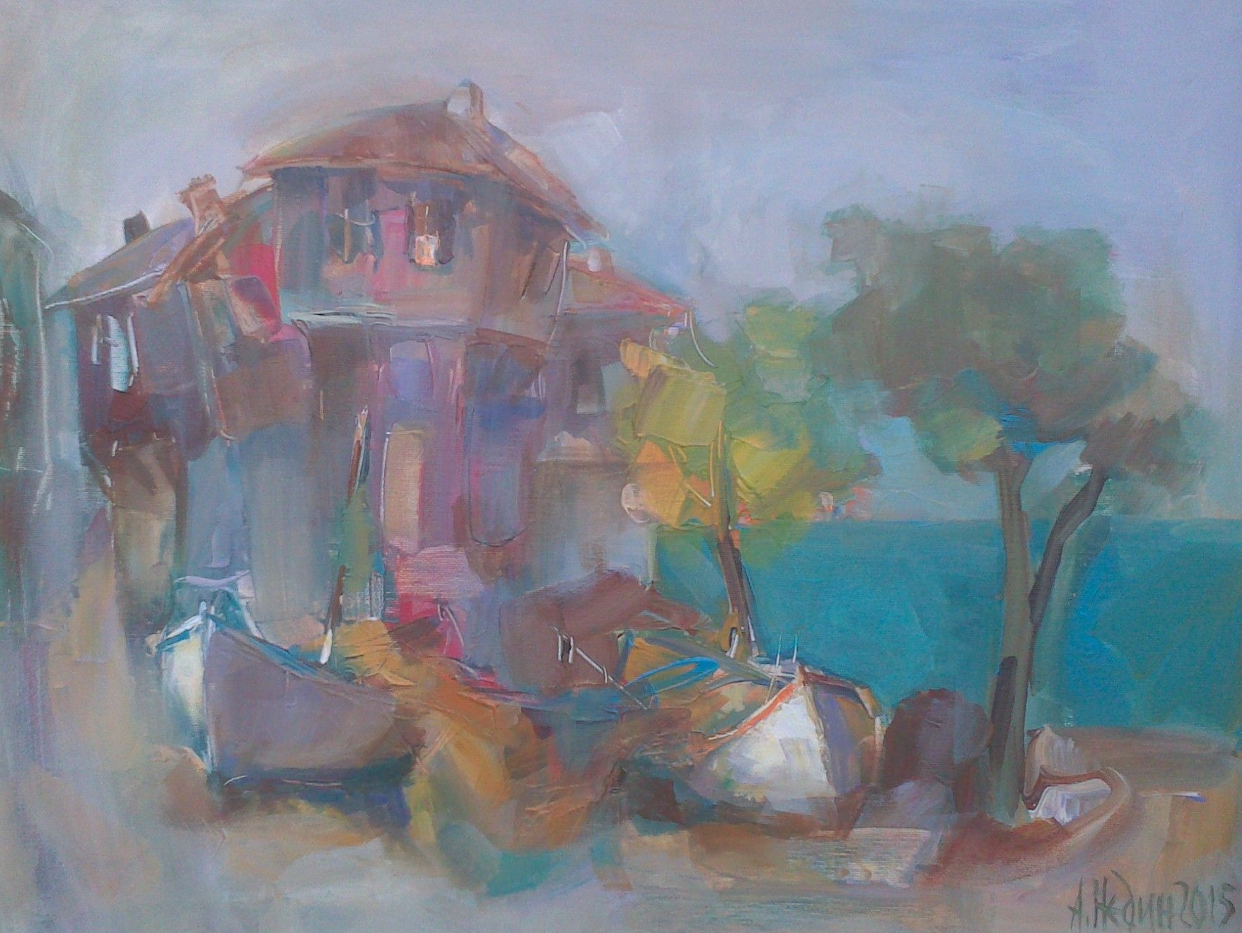 Old House and Boats Painting Angelina Nedin