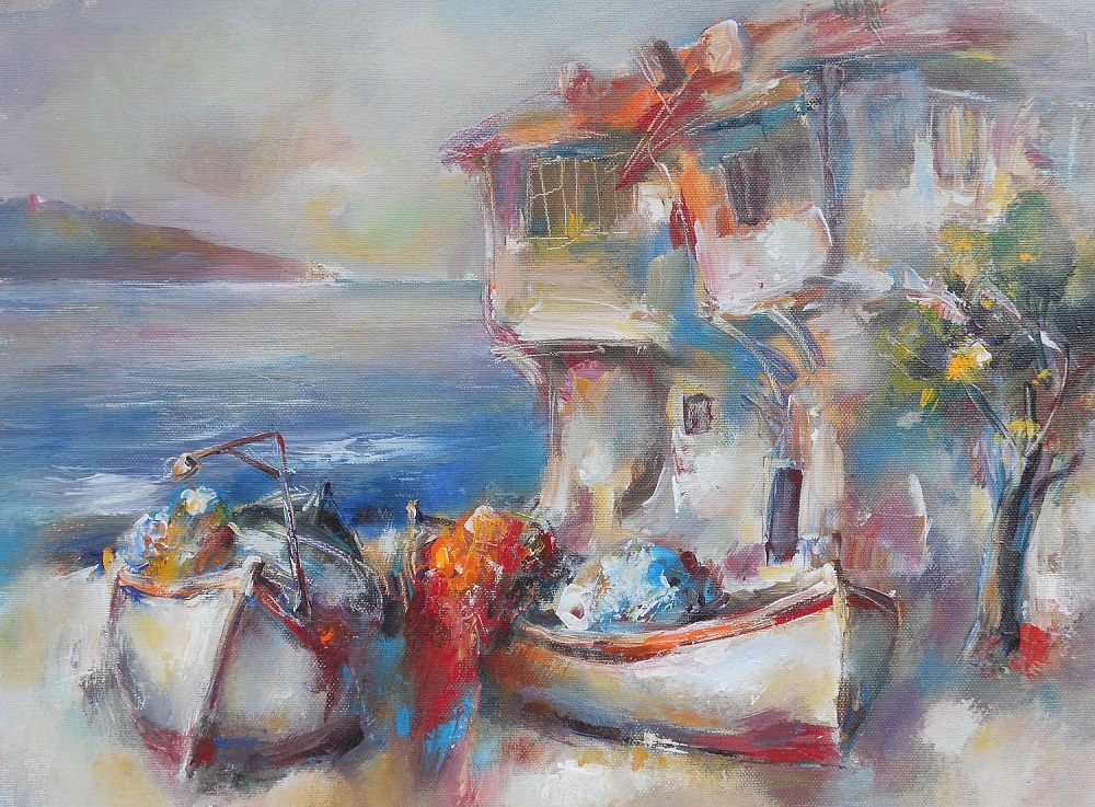 Boats and Old House Painting Angelina Nedin