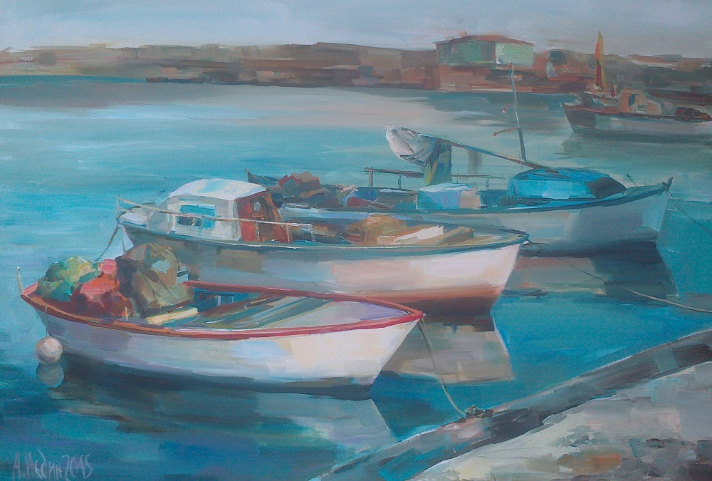 Boats on The Marine Paintng Angelina Nedin