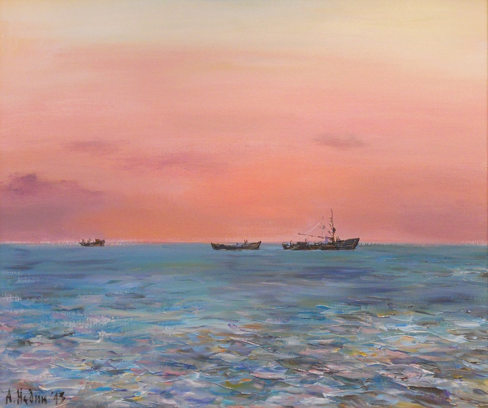 Seascape with Boats ,Painting Angelina Nedin