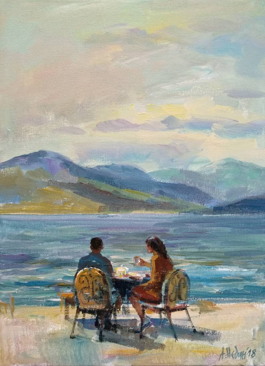 """Morning Near Ohrid Lake"" Figurative Composition Painting Angelina Nedin 2018"
