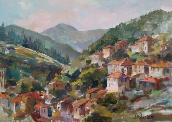 """Mountain Landscape"" Painting Angelina Nedin 2018"