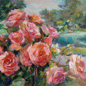 """Roses"" Angelina Nedin Naturmort Painting"