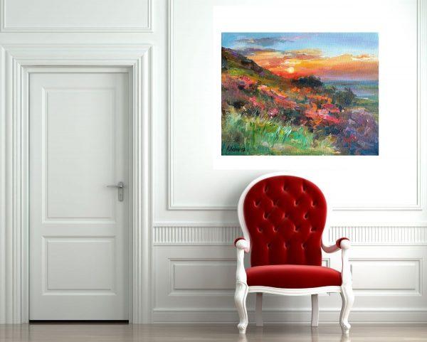 """Sunset"" Landscape Painting Angelina Nedin 2018"