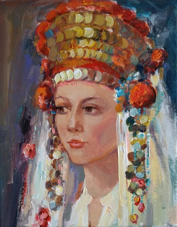 """Portrait of a Girl with Bulgarian Costume"" Painting Angelina Nedin"
