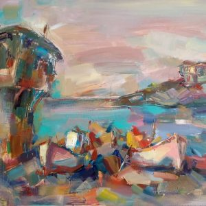 """Morning by the Sea"" Marine Landscape Painting Angelina Nedin 2018"