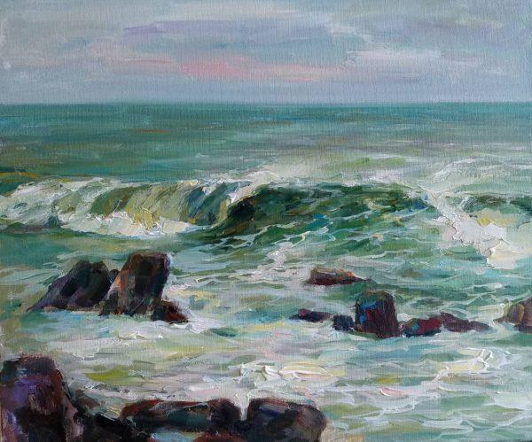 """Seascape"" Painting Angelina Nedin 2018"