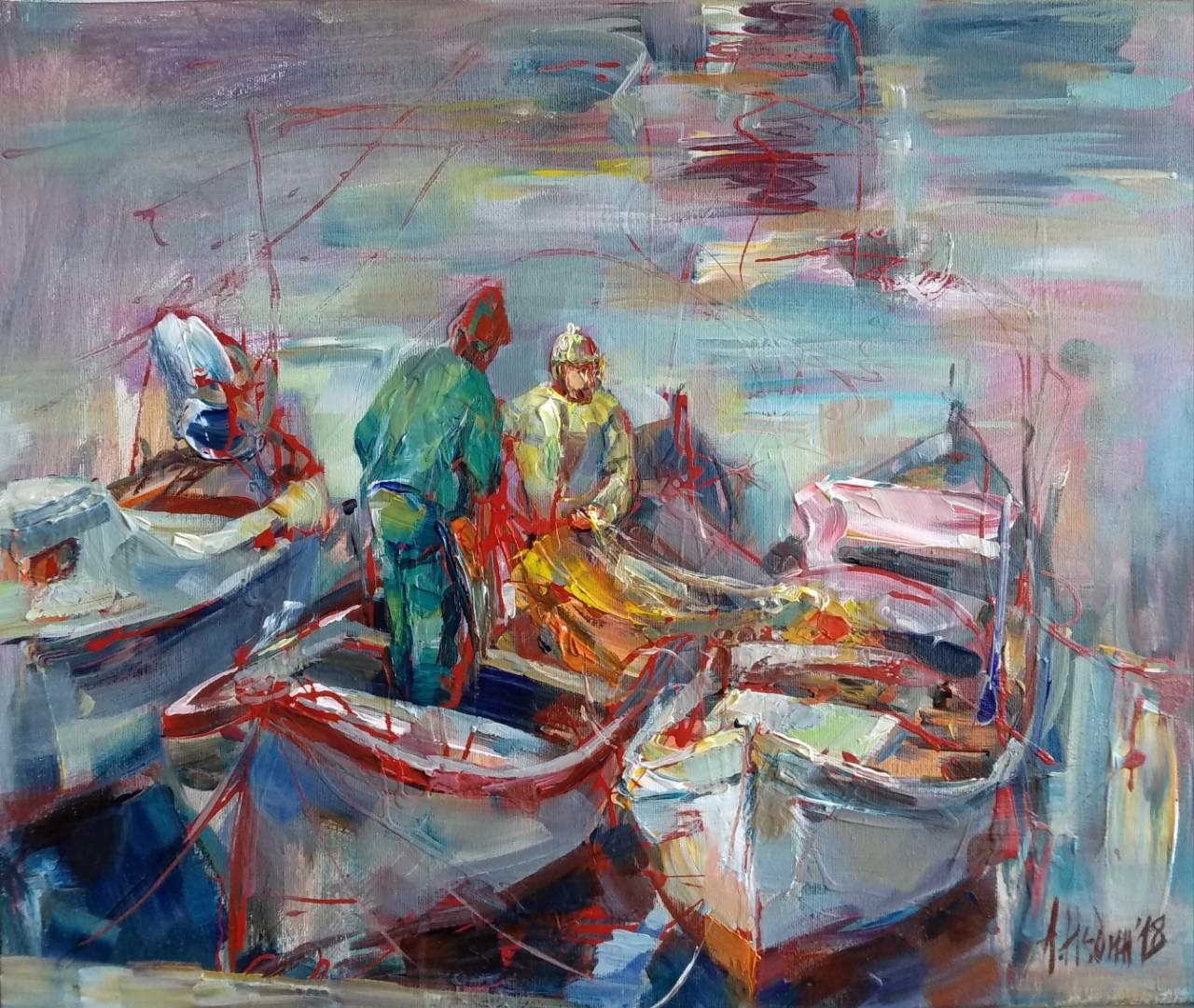 """Fishing Memories ""Painting Figurative Composition Angelina Nedin 2018"