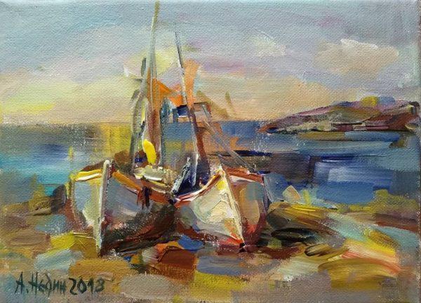 """Near the Sea"" Marine Landscape Painting Angelina Nedin 2018"