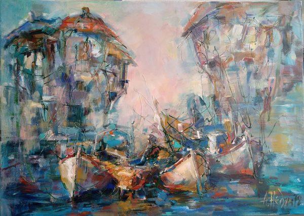 """Boats"" Landscape Painting Angelina Nedin 2018"