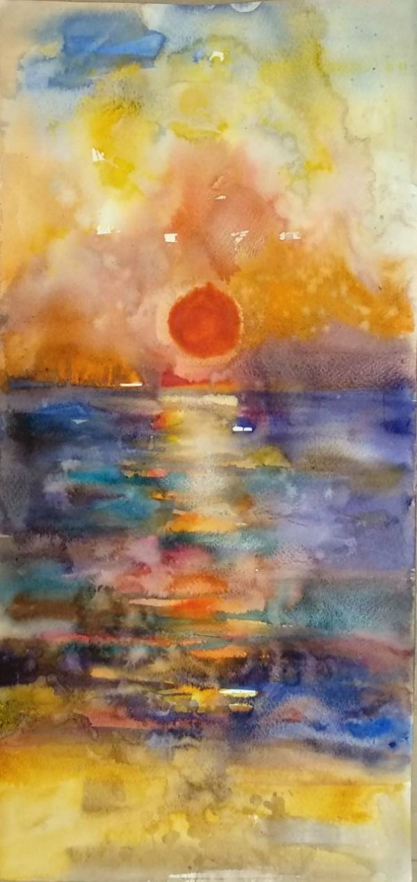 """Sunset-Impression"" Watercolor Painting Angelina Nedin 2018"