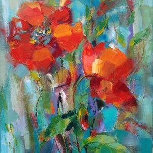 """Poppies""Angelina Nedin Naturmort Painting 2018"