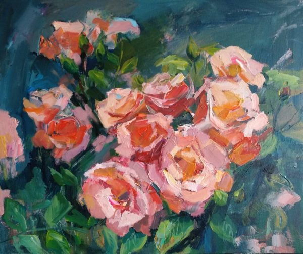"""Roses"" Angelina Nedin Naturmort Painting 2018"